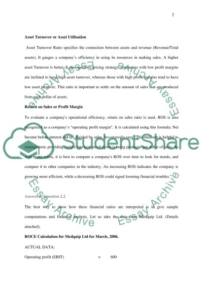 Financial Ratios essay example