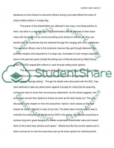 Option Grants Draw Scrutiny essay example