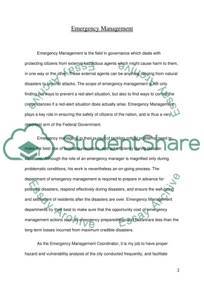 Emergency Management Essay Essay example