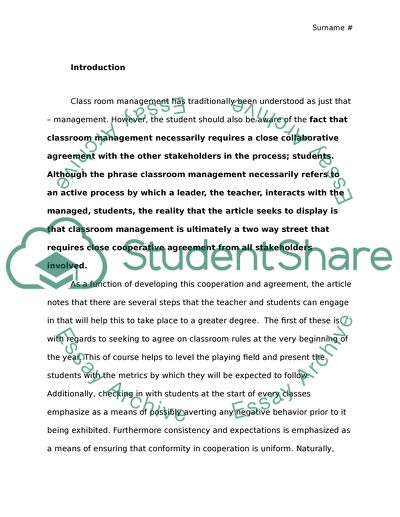 Classroom Engagement and Management