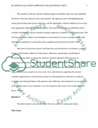 : Planned Evaluation Approach and Questions, Part 2 essay example