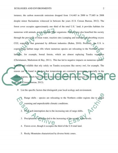 Ecologies and Environments United States essay example