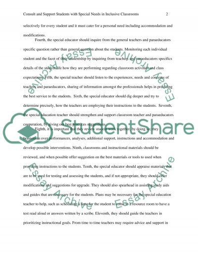 Collaboration among general education teachers and special education teachers essay example