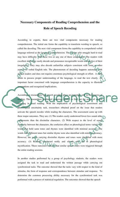 Is speech recoding necessaryfor reading