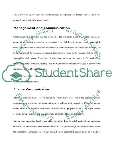 MANAGEMENT PRINCIPLE: EFFECTIVE COMMUNICATION