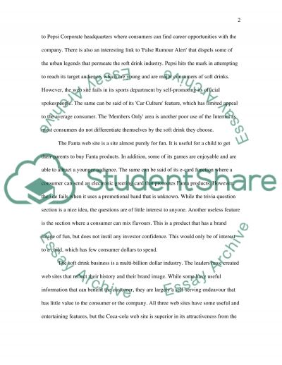 Soft drink companies: web site evaluation essay example
