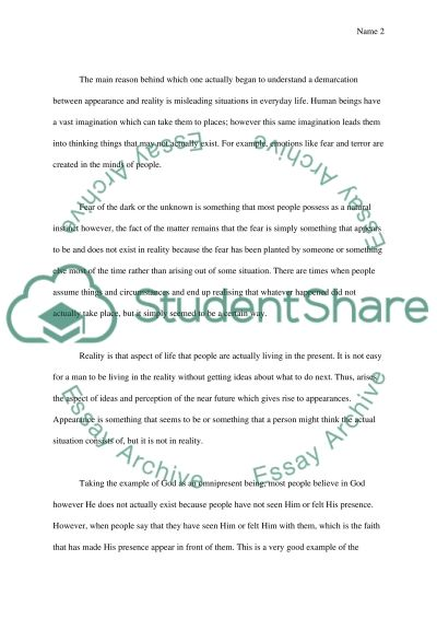The Relation between Appearance and Reality essay example