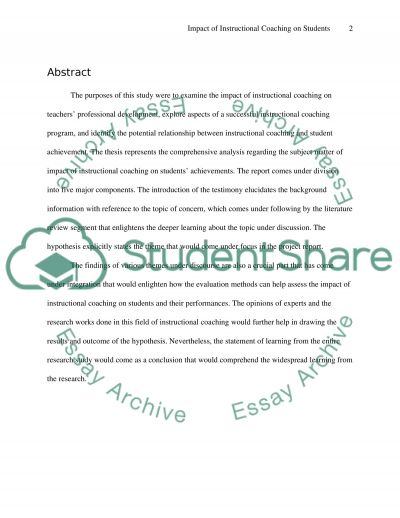 Impact of Instructional Coaching on Students essay example