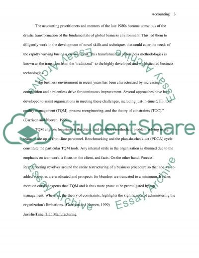 Management Accounting and the Modern Business Enviroment essay example