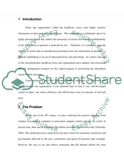 Risk Management (Firms and organisations within the healthcare sector) essay example