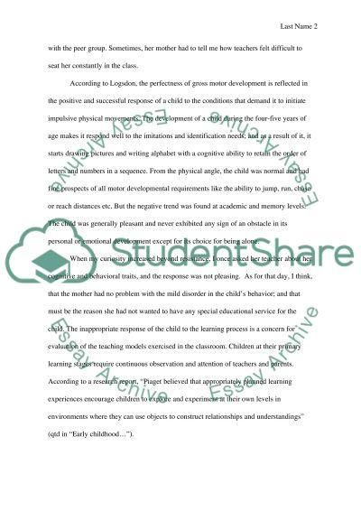 Child Psychology: Case Study essay example