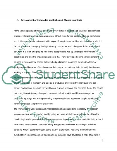 Development of Knowledge and Skills and Change in Attitude essay example