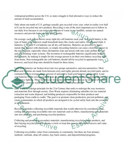 Recycling essay example