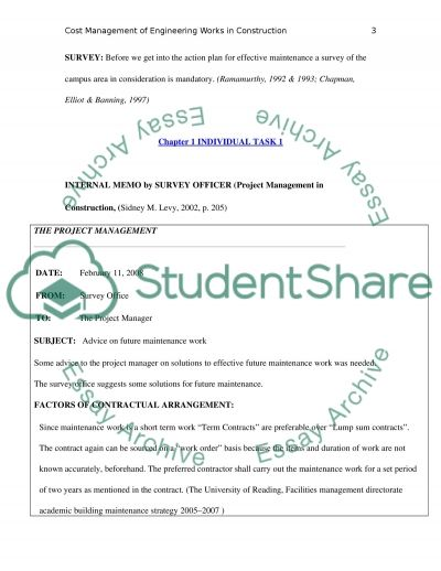 Cost Management of Engineering Works in Construction essay example