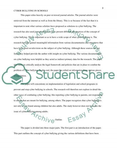 Cyber Bullying in Schools essay example
