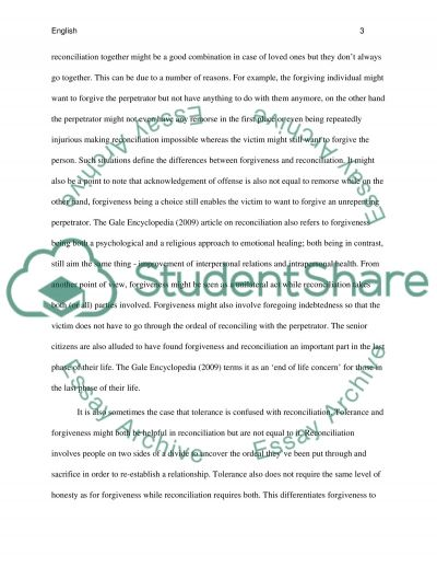 Forgiveness essay example