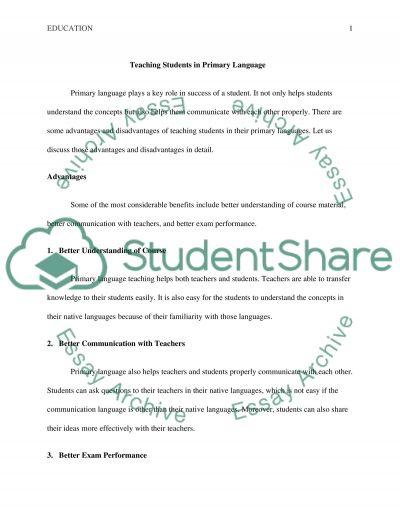 English-Language Learners essay example