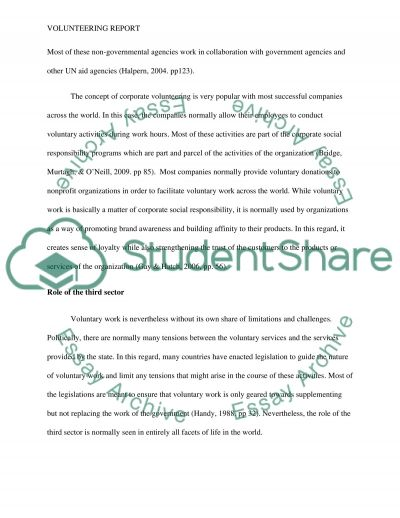 volunteering report essay example topics and well written essays  volunteering report essay example text preview