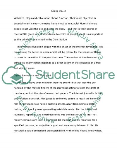 Losing the News Extended Book Review essay example