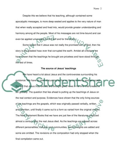 Was Jesus an apocalyptic teacher essay example