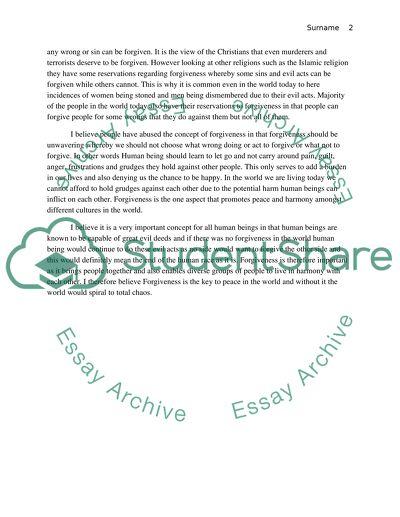 Forgiveness Concept Essay Example  Topics And Well Written Essays  Forgiveness Concept