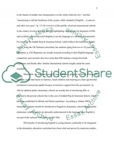 Teaching English in elementary schools in Saudi Arabia essay example
