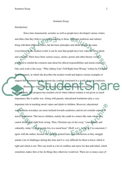 Sommers Philosophy Essay essay example
