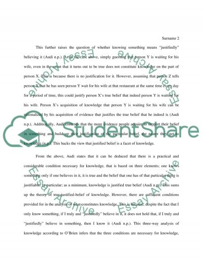 Explain the true-justified-belief theory of knowledge essay example