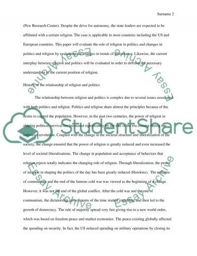 Relgion in Politics essay example