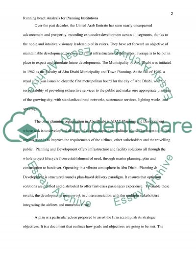 Analysis of Planning Institutions essay example