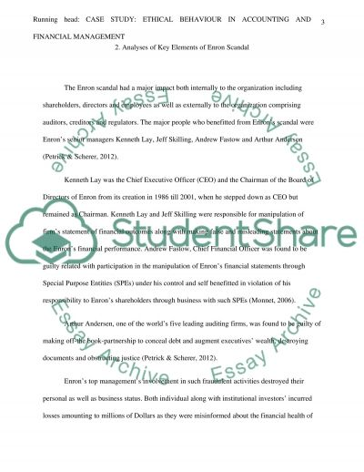 Case Study: Ethical Behavior in Accounting and Financial Management essay example
