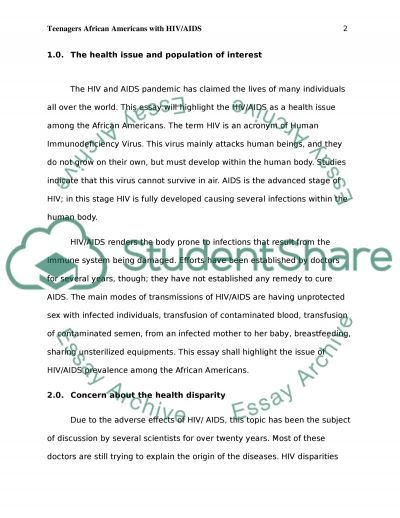 African American Teenagers with HIV/AIDS Essay example