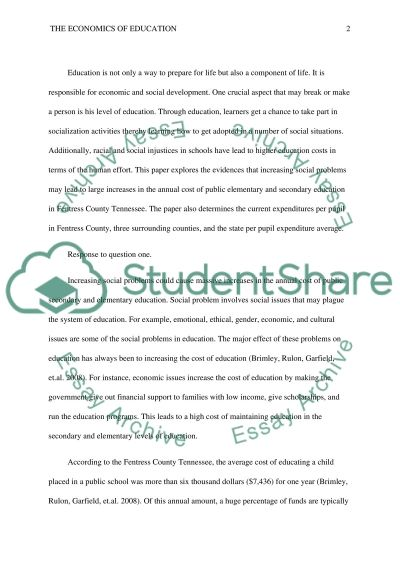 The Economics of Education & Financing Education Adequately essay example