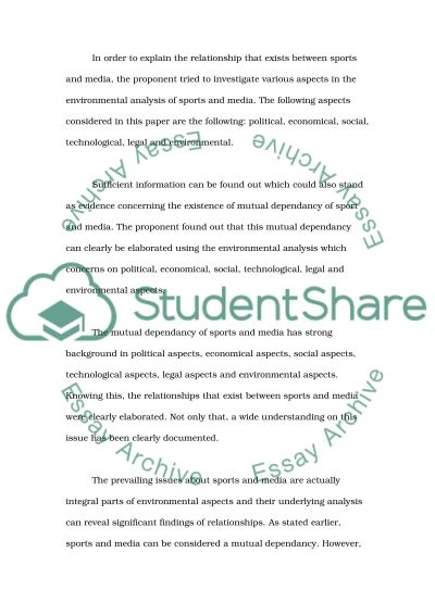Sport and Media: A Mutual Dependancy essay example