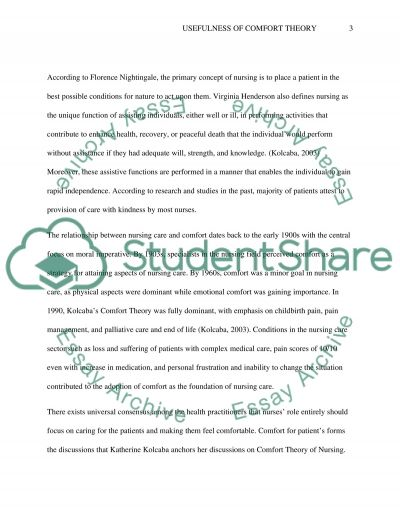 Usefulness of Comfort Theory essay example