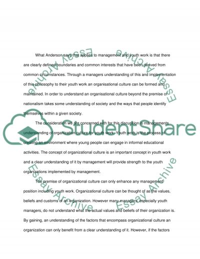 Is it important for managers in youth work to have an understanding of the concept of organisation culture Why, and what are the strengths and weaknesses of th essay example