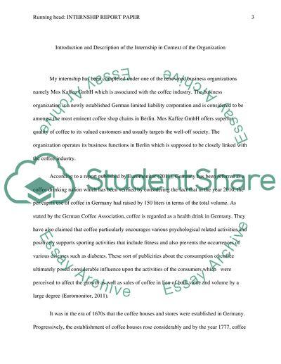 Internship Report Paper ( Mos Kaffee GmbH )