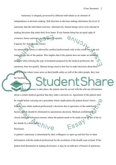 Autonomy-in regards to decision making in healthcare and research essay example
