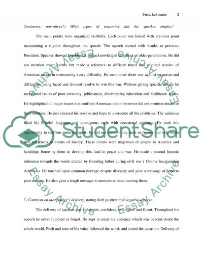 Critique of Outside Speaker ( Various speeches 4 pages each) essay example