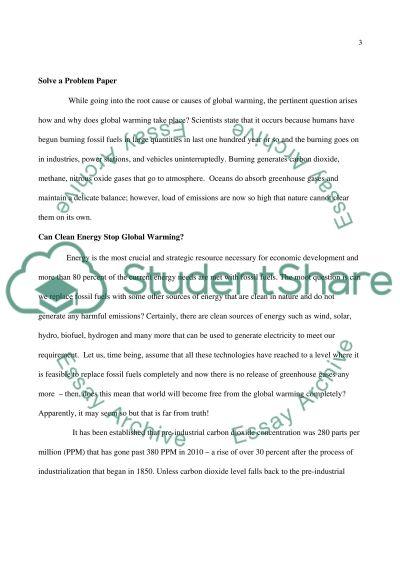 Solve A Propblem Paper essay example