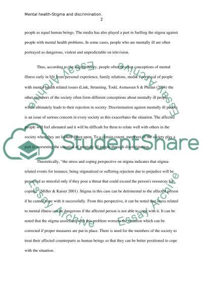 Mental Health   Stigma And Discrimination Essay Example