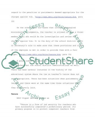 Legal rights of tenured teachers in dismissal proceedings essay example