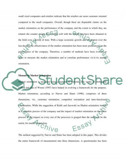Marketing Orientation essay example