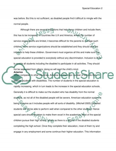 Special Education and Needs Essay example