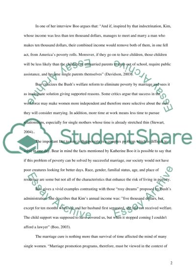 The marriage cure, inadequate solution of poverty essay example