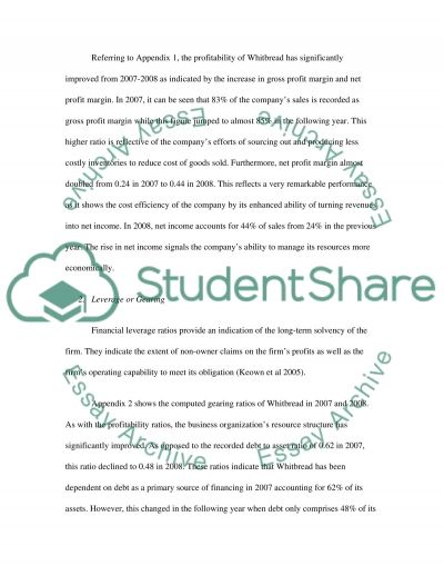 Whitbread PLC Financial Summary essay example