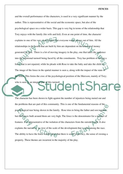 fences by august wilson essay Fences by august wilson 5 pages 1128 words november 2014 saved essays save your essays here so you can locate them quickly.
