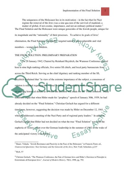 Implementation of the Final Solution essay example