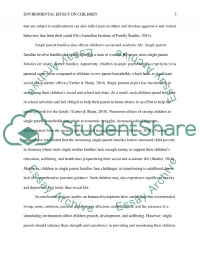 The environmental effects on rasing children essay example