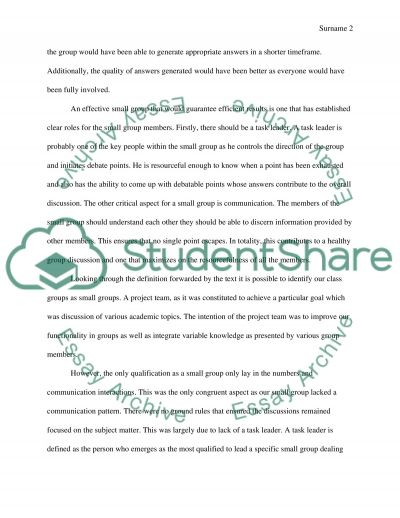 Small group communication Essay example